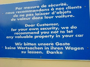 French Car Park Sign